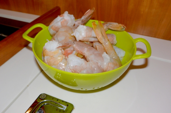 peeled shrimp galley cooking