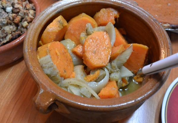 sweet potatoes fennel served