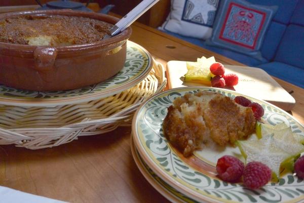 Malva pudding served