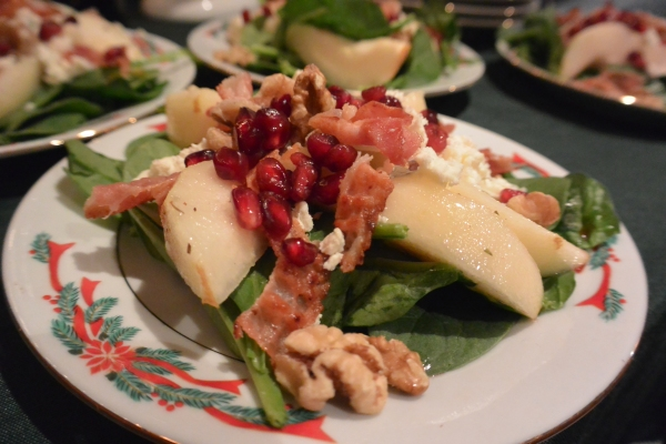 pear salad close up