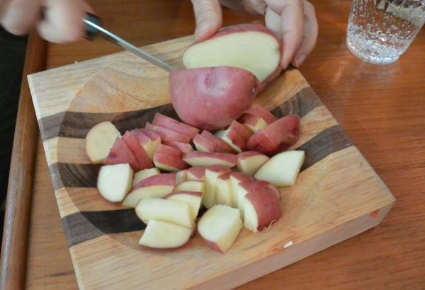 chop potatoes