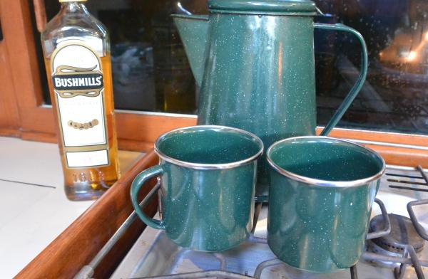 cups, pot and Bushmills