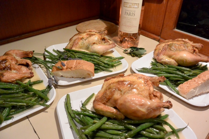 four lavender cornish hens on plates