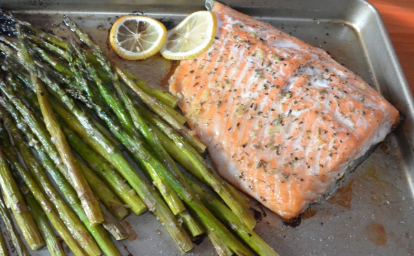 salmonout of the oven