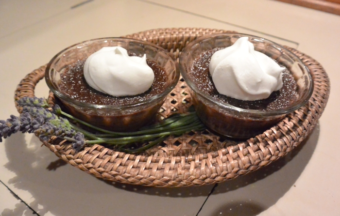 two lavender chocolate puddings