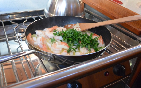 in pan with cilantro