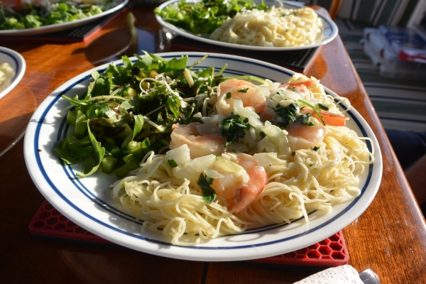 shrimp scampi served