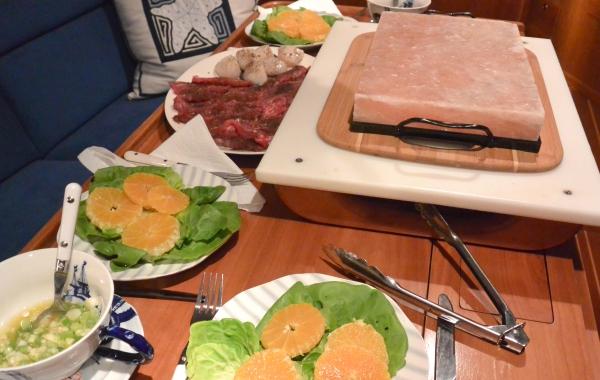 heated salt plate on table