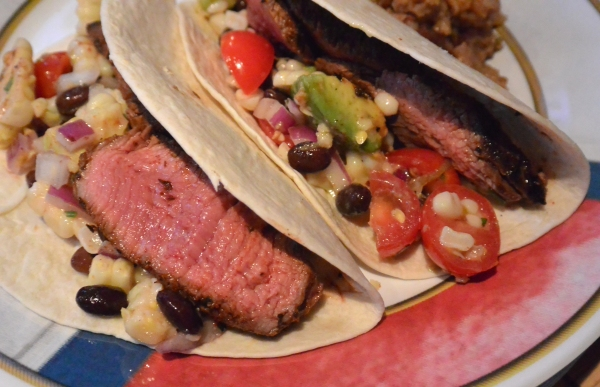 blackened steak tacos