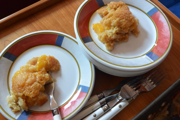 peach cobbler two served