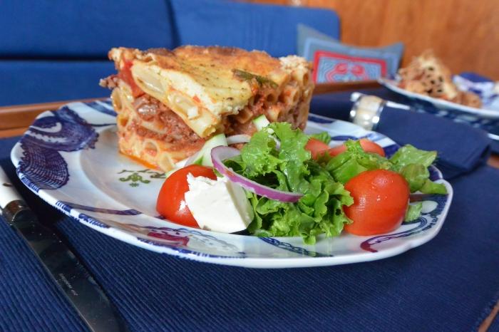 Greek Salad on plate w pastitsio