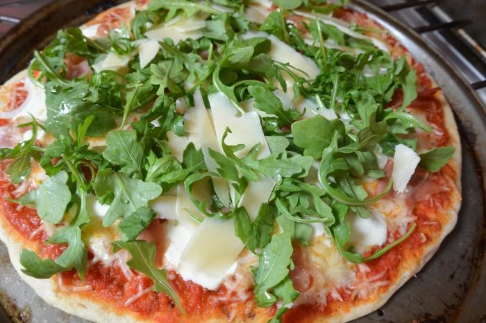 prosciutto pizza ready fro second oven