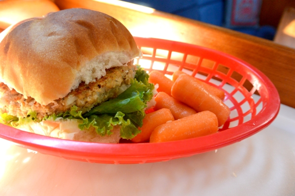 salmon patty in basket