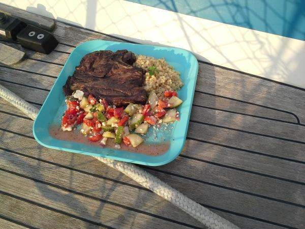 Lamb chops served