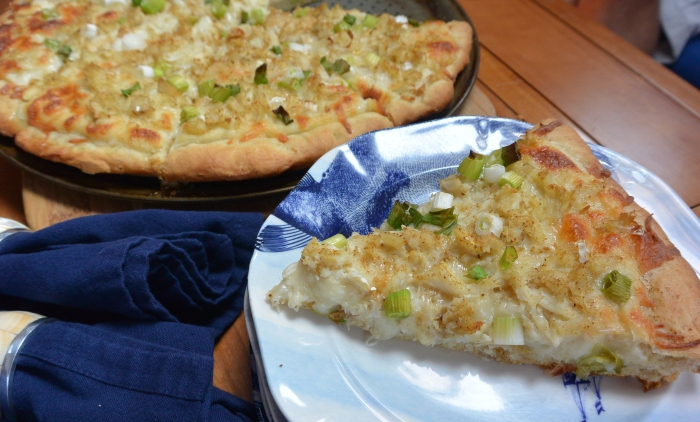 crab pizza served