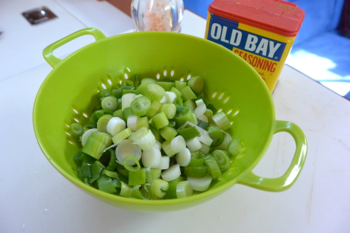 scallions in bowl