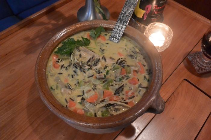 wild rice soup final on salon table