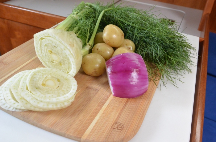 fennel, potatoes and onion