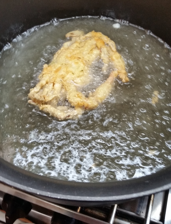 one crab frying