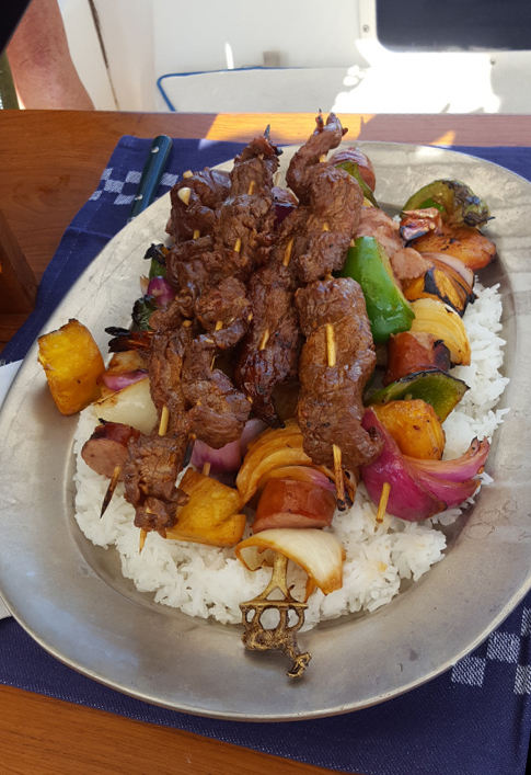 Kabobs on rice
