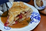 Cranberry Apple Pie with Rum Sauce